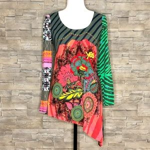 Desigual multicolour asymmetrical tunic